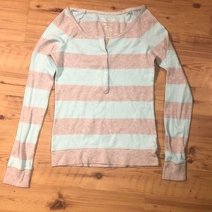 American Eagle waffle knit half-button long sleeve